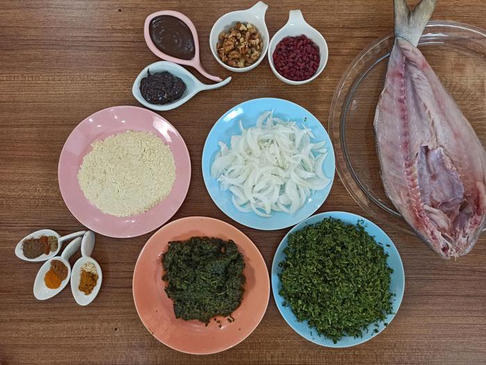 طرز تهیه سبزی پلو با ماهی شکم پر